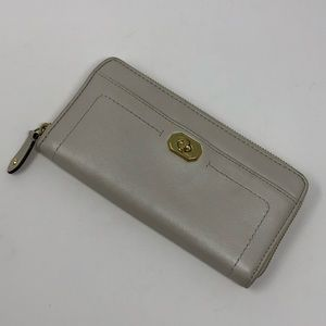 Coach Gray Pearlized Leather Zippered Wallet